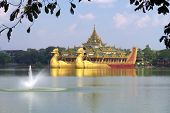 foto of barge  - Floating Barge Karaweik Hall on Kandawgyi lake in Yangon, Myanmar