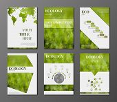 pic of polygon  - Vector set of brochures and flyers in polygonal style concerning to ecology themes with infographic elements - JPG