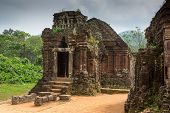 stock photo of champa  - Hindu Temple at My Son Vietnam built during Champa Kingdom - JPG
