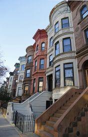 picture of brownstone  - Famous New York City brownstones in Prospect Heights neighborhood in Brooklyn - JPG