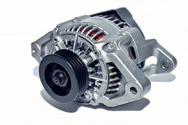 stock photo of dynamo  - New car alternator on a white background