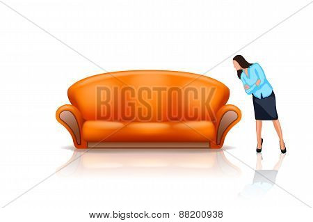 sofa with girl
