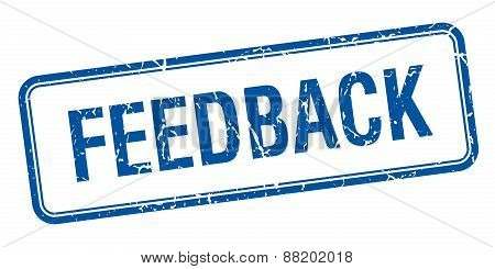 Feedback Blue Square Grungy Vintage Isolated Stamp