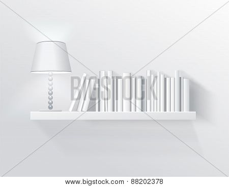 Realistic Illustration, Shelf On The Wall With Lamp