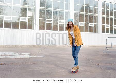 Student Going On Skateboard