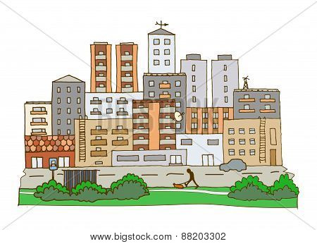 Doodle Vector Town Illustration