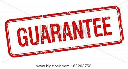 Guarantee Red Square Grungy Vintage Isolated Stamp