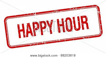 Happy Hour Red Square Grungy Vintage Isolated Stamp