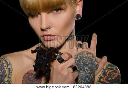 Tattooed Charming Woman With Tattoo Machine