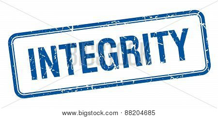 Integrity Blue Square Grungy Vintage Isolated Stamp