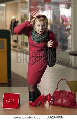 Customer Woman In Shopping Centre