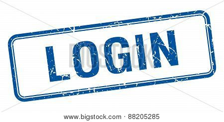 Login Blue Square Grungy Vintage Isolated Stamp
