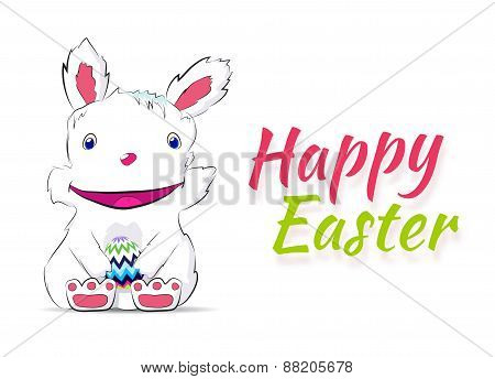 Smiling easter rabbit drawn by hand
