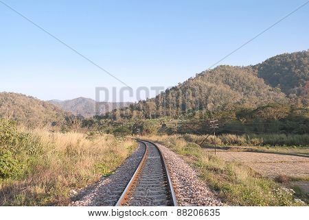 Railroad Rails In To The Mountain