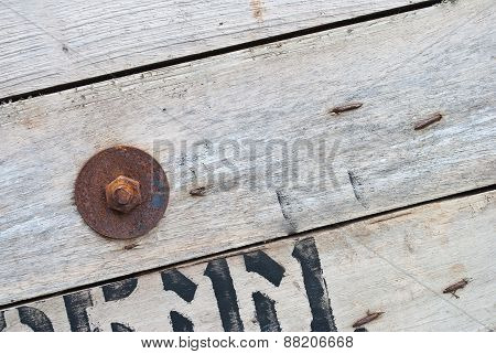 Old Wood With Rusty Old Nuts, Texture For Background