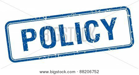 Policy Blue Square Grungy Vintage Isolated Stamp