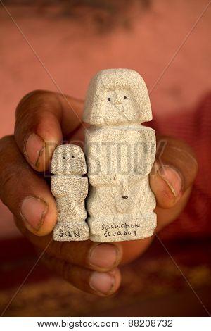 Figurines of San Biritute, famous archeological prehispanic totem in Santa Elena