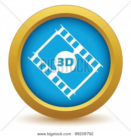 Gold 3d film icon