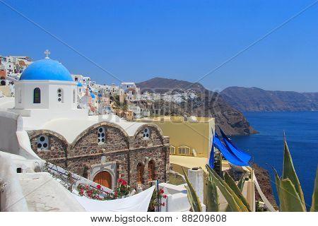 Classical Greek Style Church In Santorini, Greece