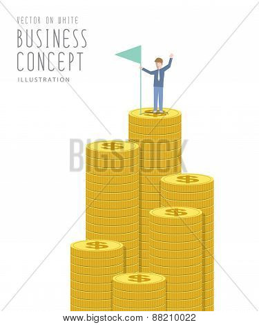 Businessman Holding Flag On Top Of Money. Business Success Concept Flat Vector.