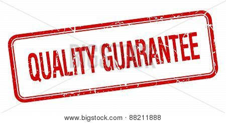 Quality Guarantee Red Square Grungy Vintage Isolated Stamp