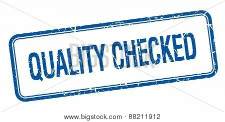Quality Checked Blue Square Grungy Vintage Isolated Stamp