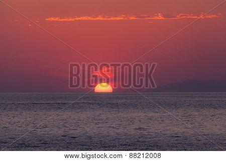 Amazing Red Dawn Over Sea
