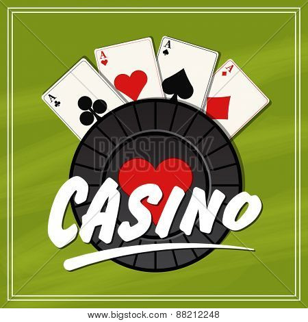 Stylish Casino chip with playing cards on green background, can be used as poster or banner design.