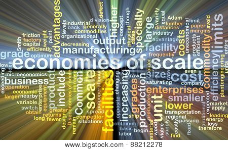 Background text pattern concept wordcloud illustration of economies of scale glowing light