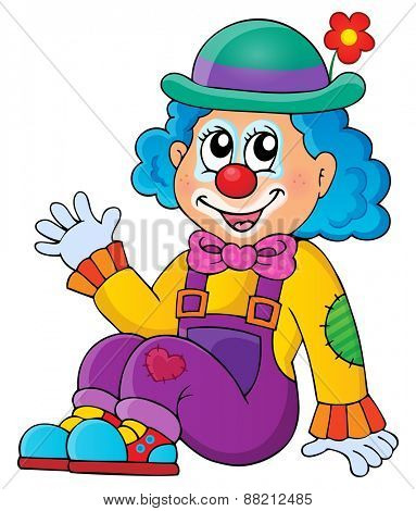 Sitting clown theme image 1 - eps10 vector illustration.