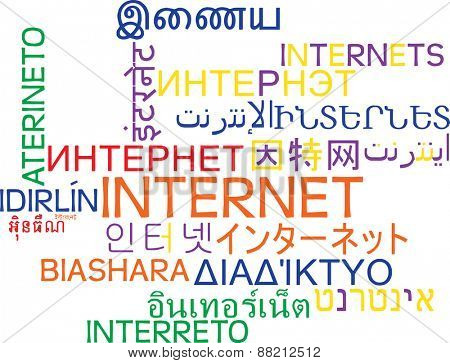 Background concept wordcloud multilanguage international many language illustration of internet