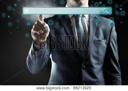 Technology, searching system and internet concept. Businessman hand pressing Search button