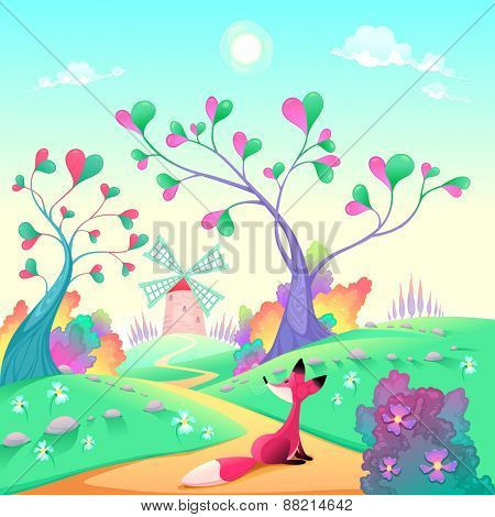 Romantic landscape with fox. Funny cartoon and vector illustration.