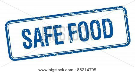 Safe Food Blue Square Grungy Vintage Isolated Stamp