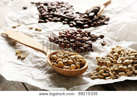 Coffee beans on crumpled parchment, closeup