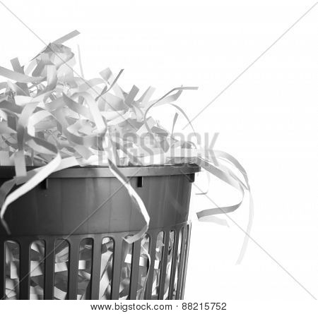 Strips of destroyed paper from shredder in trash can isolated on white