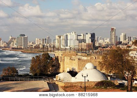 Tel-Aviv, Israel sky line and Mediterranean beach