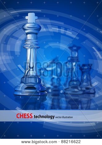 Transparent chess pieces on the mirror surface and a blue background.