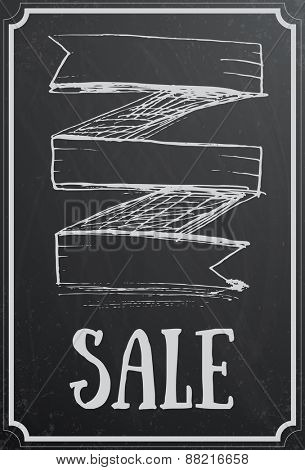 Sale concept with ribbon on black chalkboard texture. Vintage vector illustration