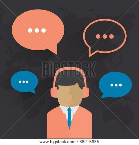 Male call center avatar. Man wearing headsets with colorful speech bubbles conceptual of client services and communication