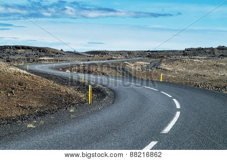 Scenic road in Iceland on a clear day