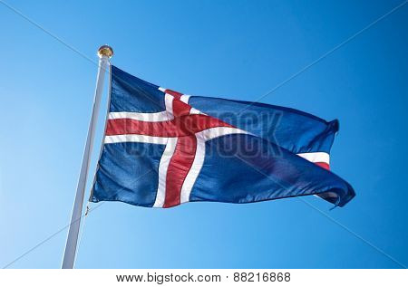 The civil national flag of Iceland