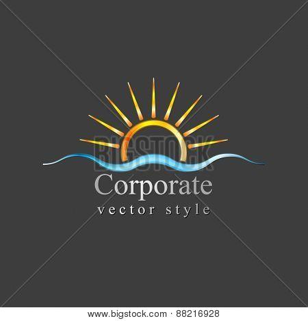Bright logo. Sun and sea wave. Vector design