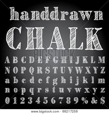 vector hand drawn chalk alphabet