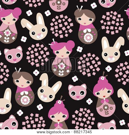 Seamless kids cherry blossom geisha girls and Japanese cat and bunny animals illustration pattern in vector