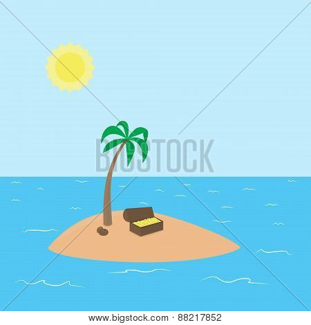 Cartoon Treasure Island with palm, chest full of money and coconut surrounded by ocean