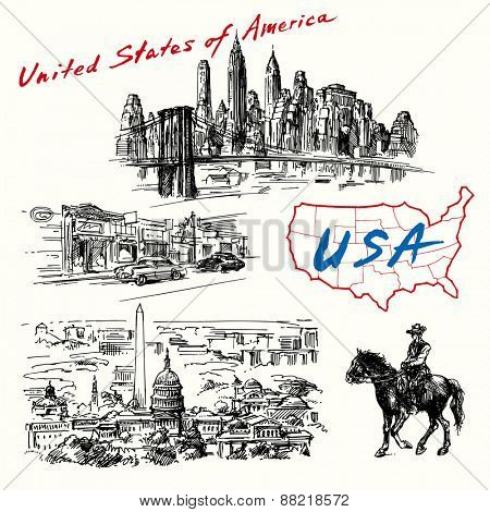 USA, New York, Washington - hand drawn collection