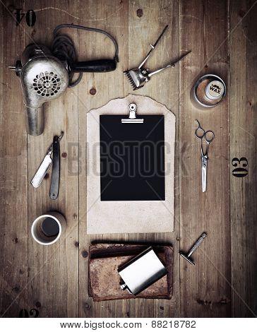Set Of Vintage Tools Of Barber Shop And Black Paper