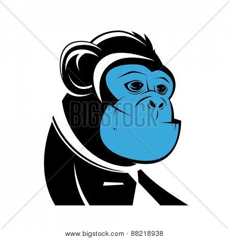 business ape with blue face