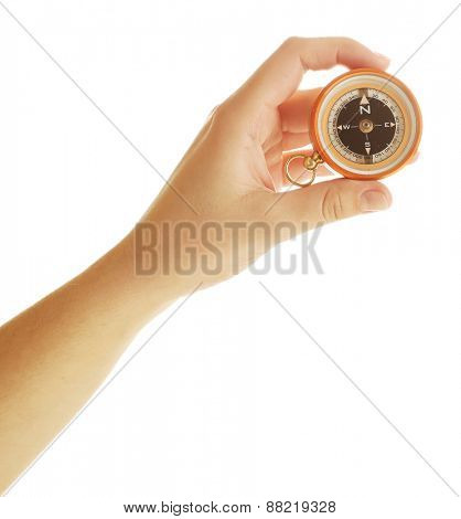 Female hand with compass
